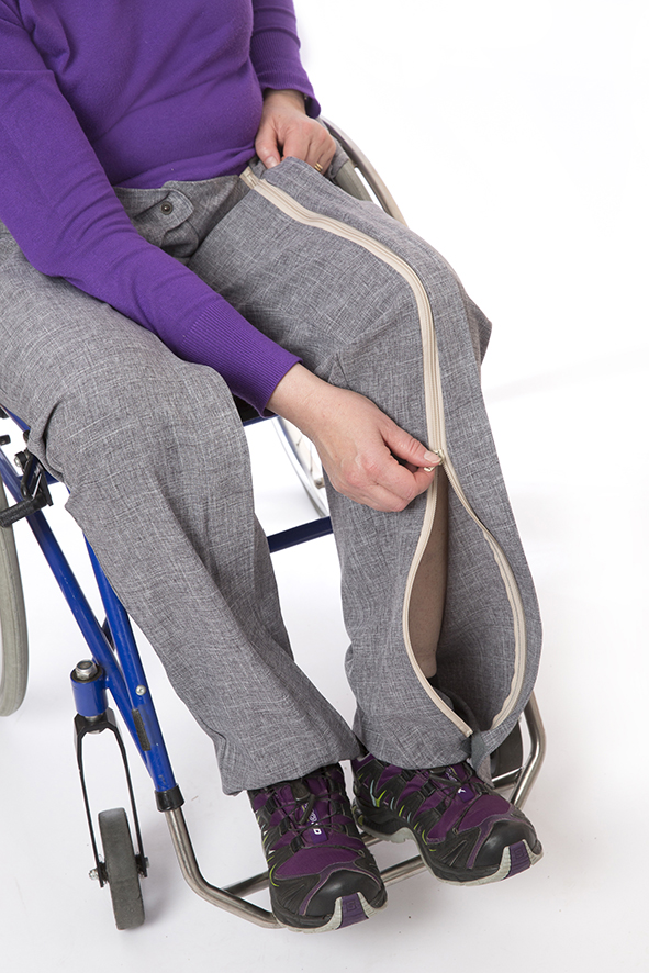 Byxa framtagen för rullstolsburna